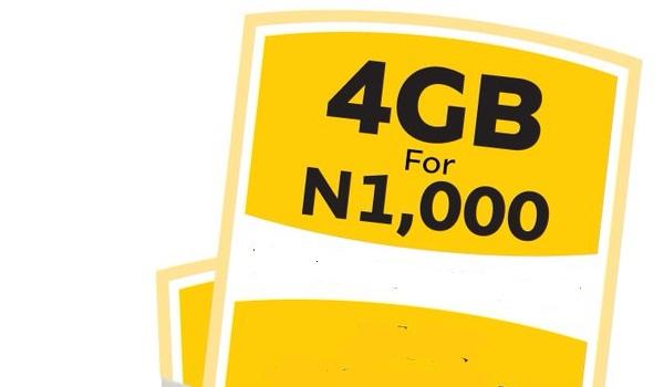 MTN 4GB data for 1000 naira mobility nigeria
