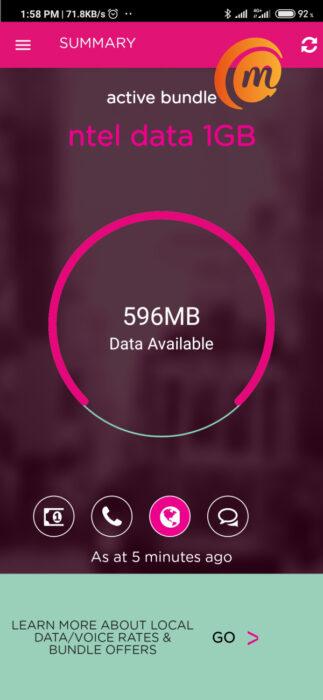 ntel mobile app showing data balance