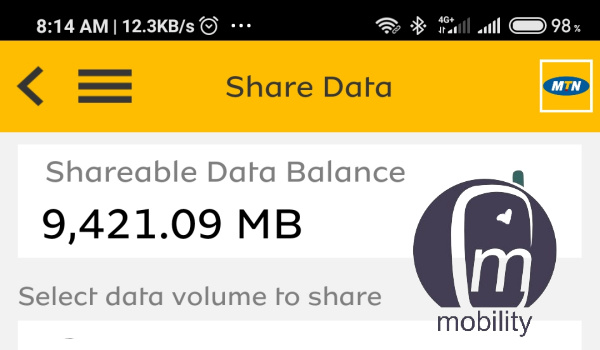 how to share MTN data via MyMTN app mobility nigeria