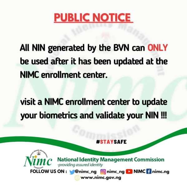 nin generated by bvn - BVN-generated NIN